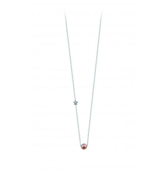 Pendentif perle rose et diamond star