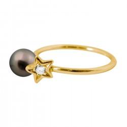 Bague Diamond star perle noire