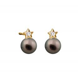 My Pearly Star Earrings (Black Pearl)