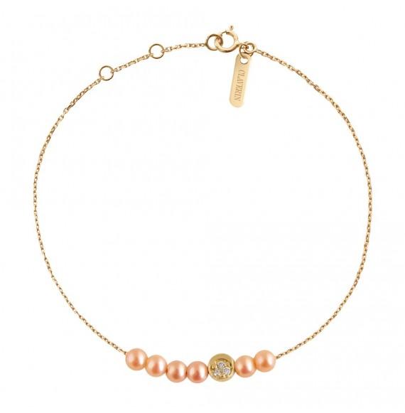 Bracelet Rosary Diamond Moon or jaune et perles roses