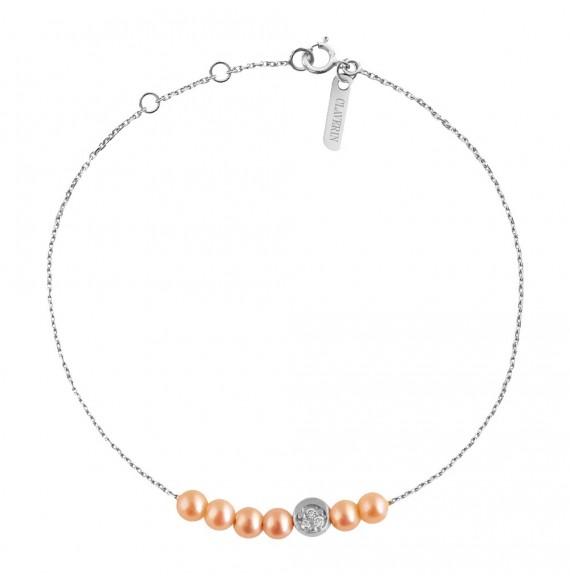Bracelet Rosary Diamond Moon or blanc et perles roses
