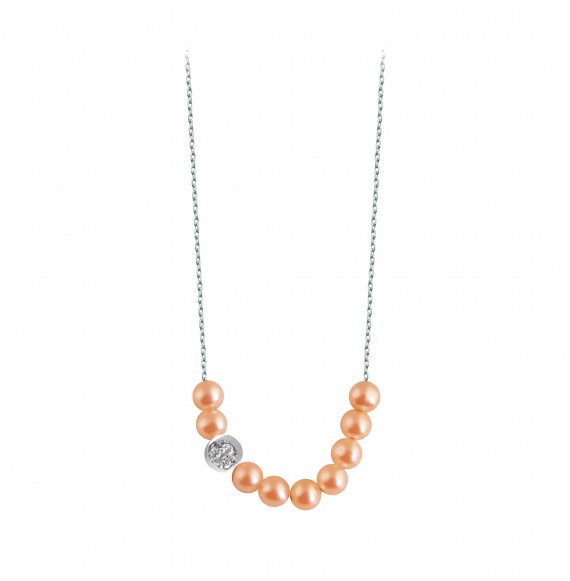 Rosary Diamond moon necklace