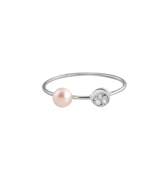 Bague Mini Diamond Moon perle rose