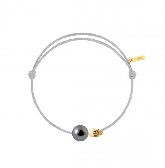 Pearly gold skull perle noire cordon gris perle