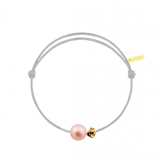 Pearly gold flower perle rose cordon gris perle