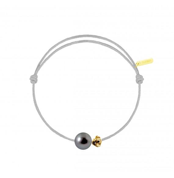 Pearly gold flower perle noire cordon gris perle