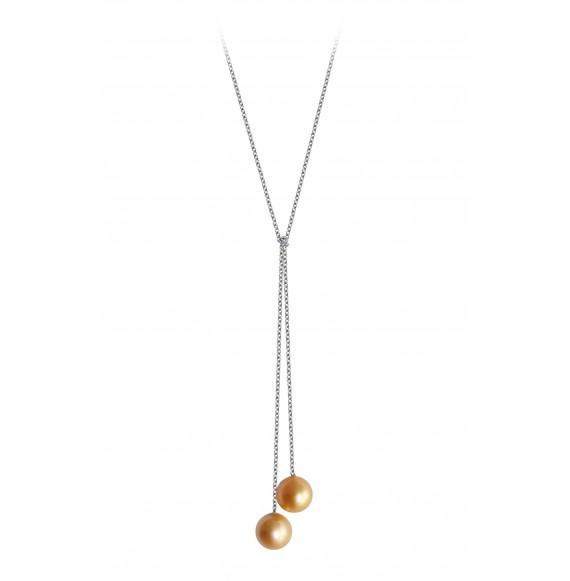 Pendentif lasso perles noires