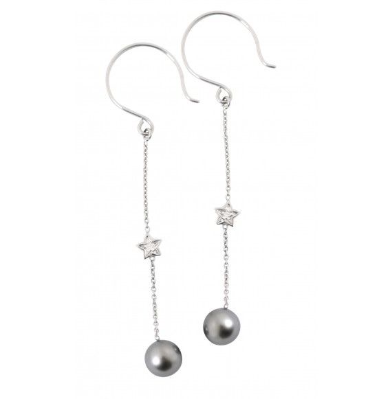 Long Pearly Star Earrings (Black Pearl)